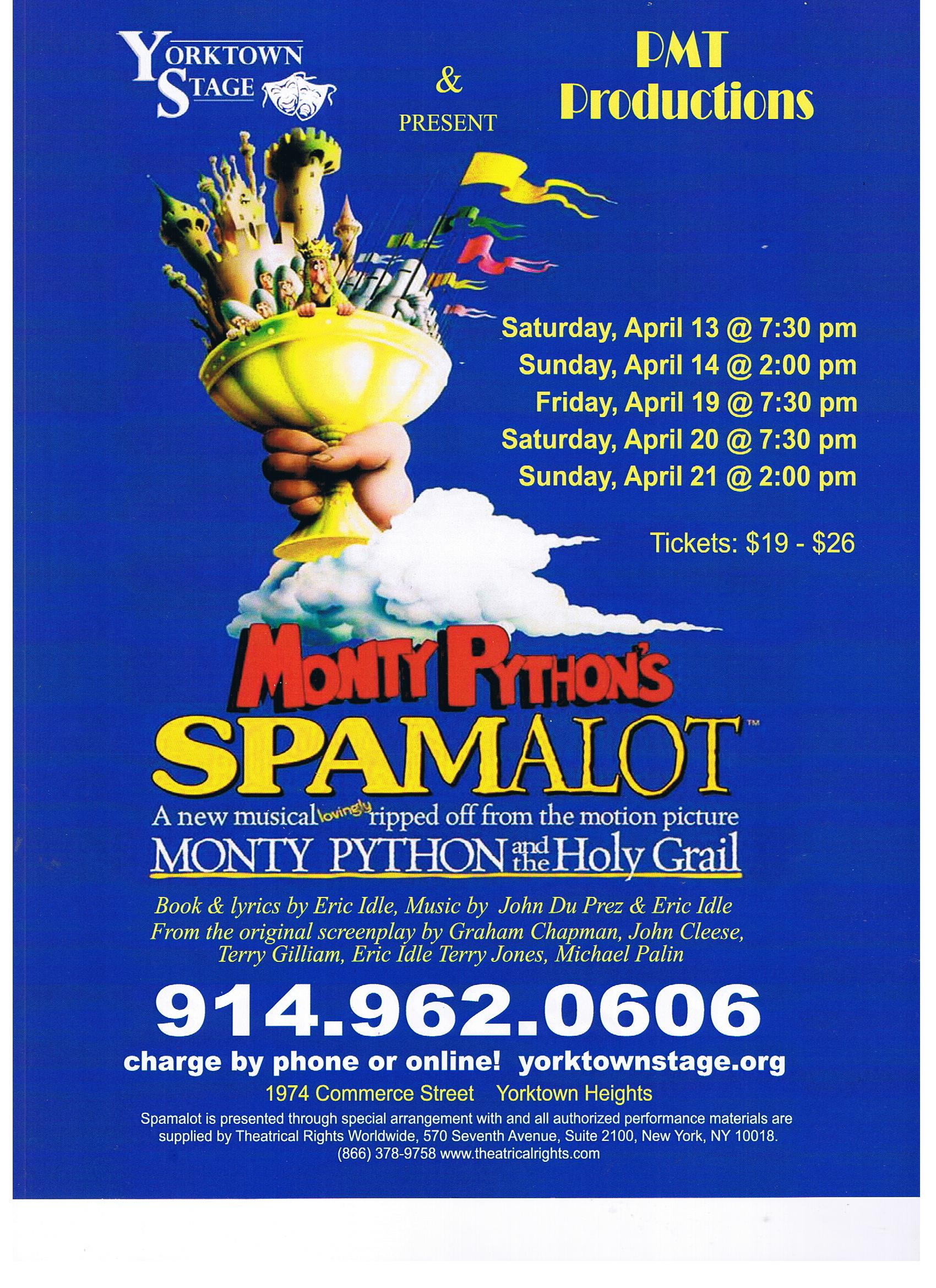 """PMT Productions rehearsed """"Spamalot"""" in our studio. Wht a funny cast and lots of laughs for 6 weeks!"""