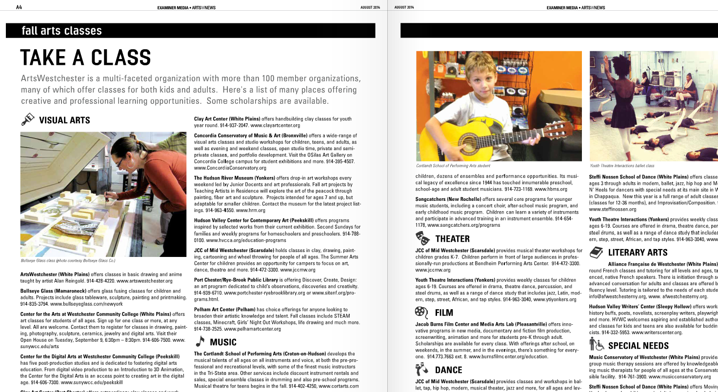 """Featured Music School in Arts Westchester """"Arts News"""" August 2014 Issue, Page 4-5, our student pictured, playing guitar!"""