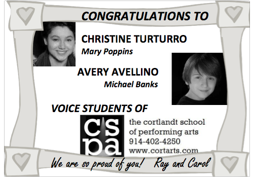 Two of our students landed leading roles in Mary Poppins at Archbishop Stepinac!