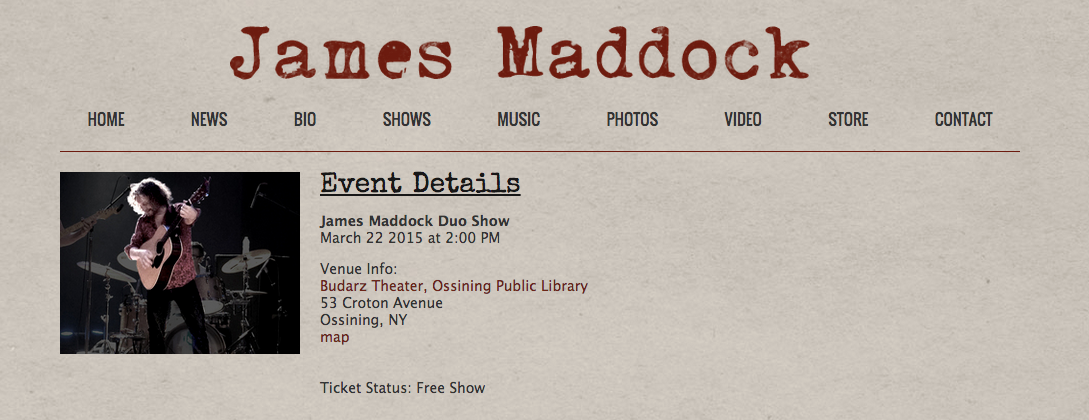 The Cortlandt School of Performing Arts was the proud sponsor of The James Maddock Duo Show on March 22, 2015 at The Budarz Theater, Ossining Public Library.  It was a FREE EVENT!