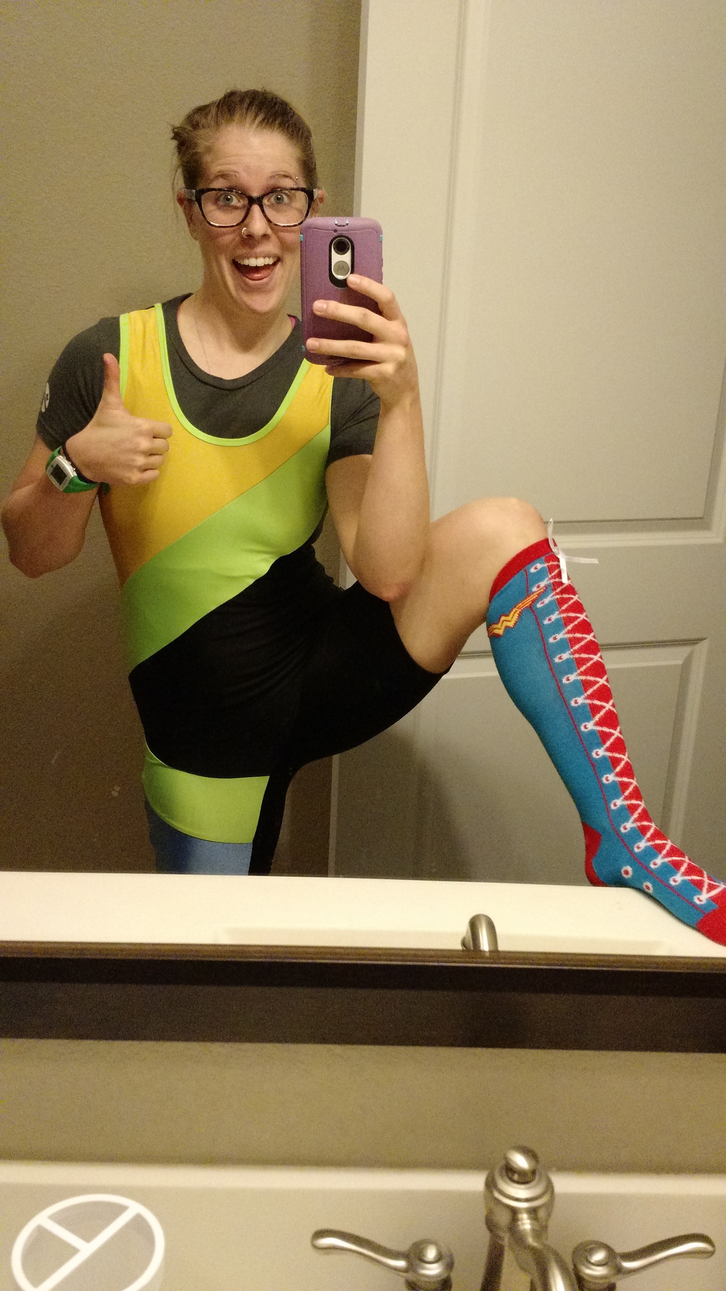Fun singlet and socks picture the day before the meet. As nervous as I was, I'm all about having fun at these competitions, so I like to be the one of the flashiest people on the platform. :P