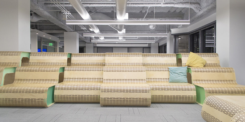 Showpad Seating - Playful, movable stadium seating that pushes digital fabrication techniques