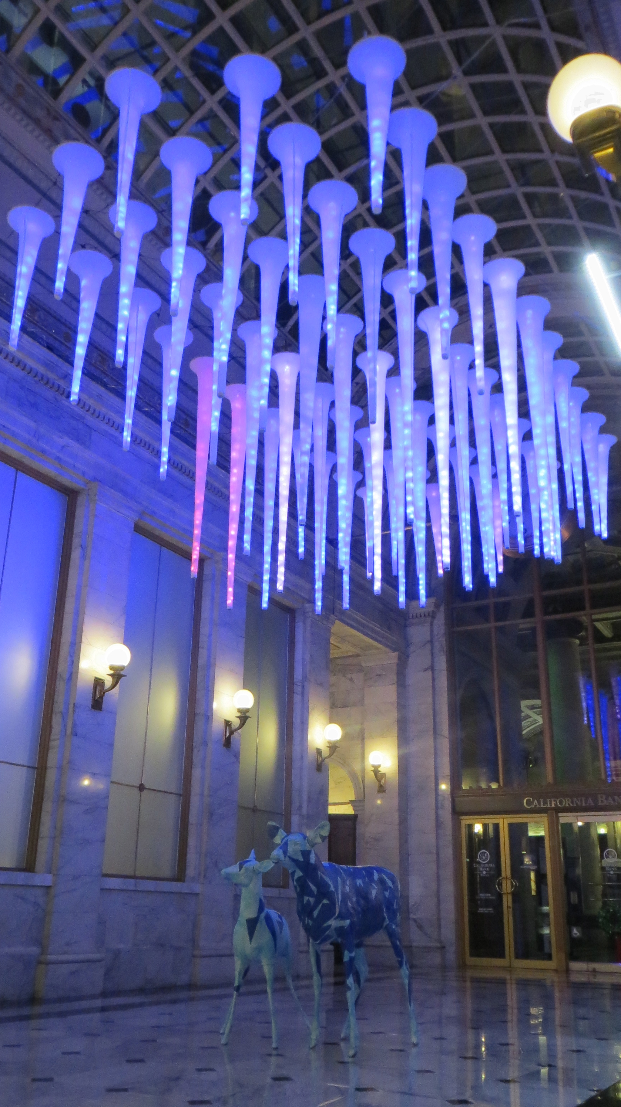 MERCHANTS EXCHANGE.  Holiday installation at a historic building downtown