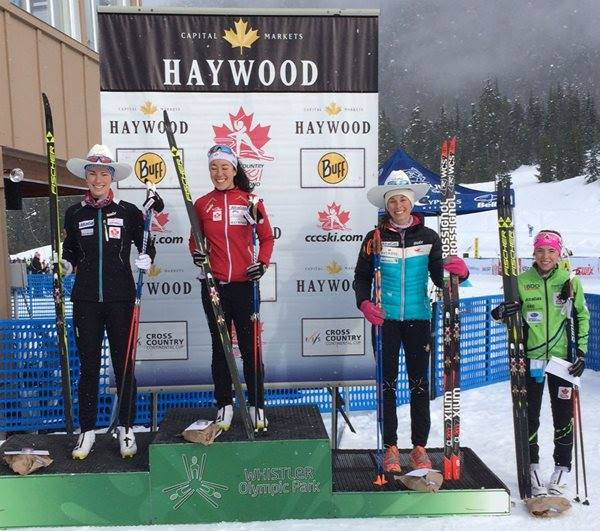The podium from the Westerns 10km Classic in Whistler. Jan 21, 2017