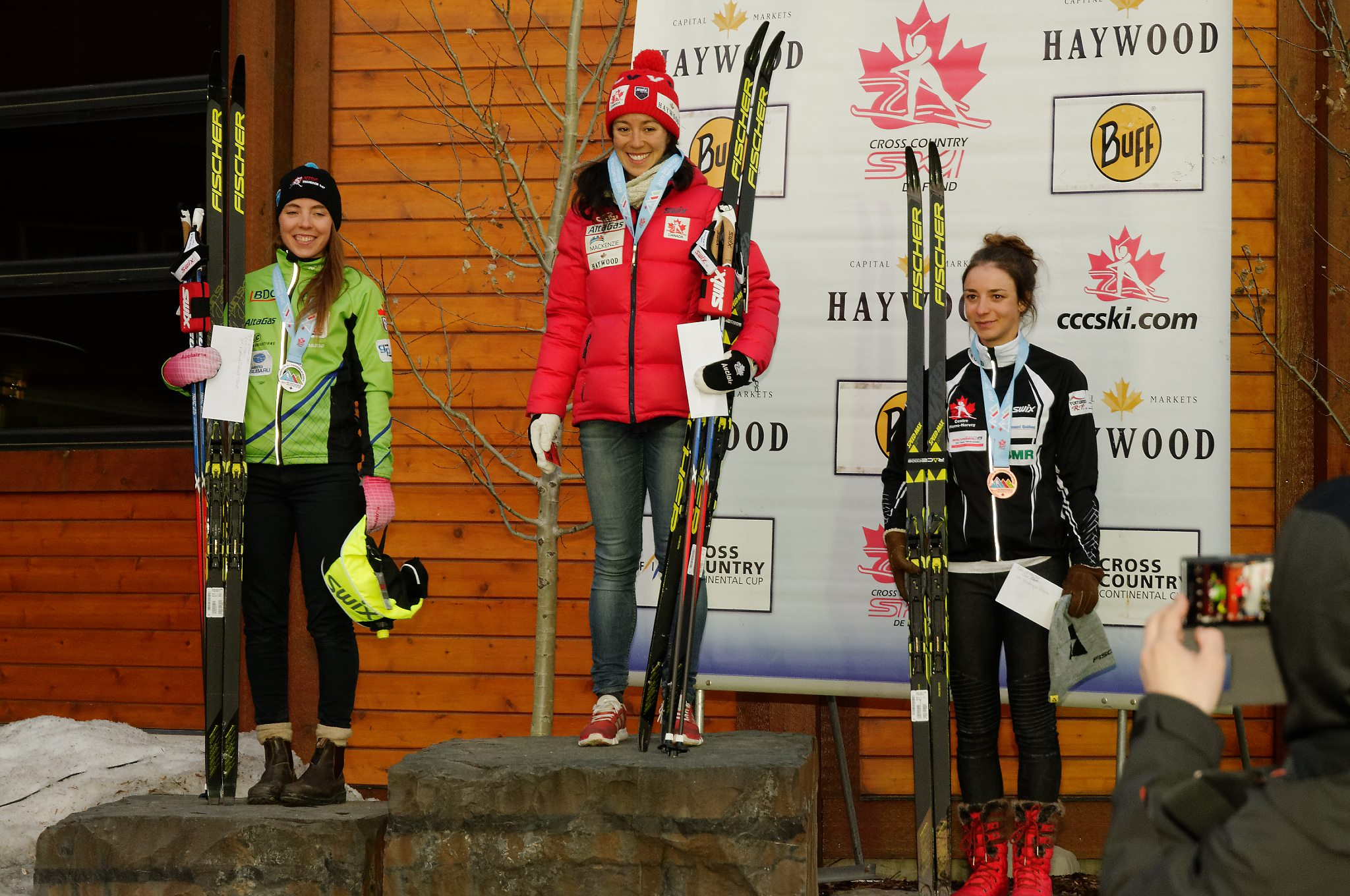 Podium from the 10km Classic race. Katherine Stewart-Jones, me, Fred Vezina l-r