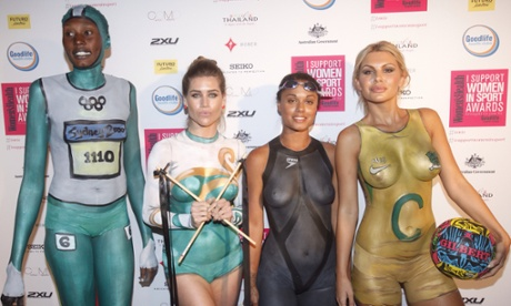 Women with body paint on the red carpet at the Women In Sports Awards held in Sydney.Photograph: Mick Tsikas/AAP