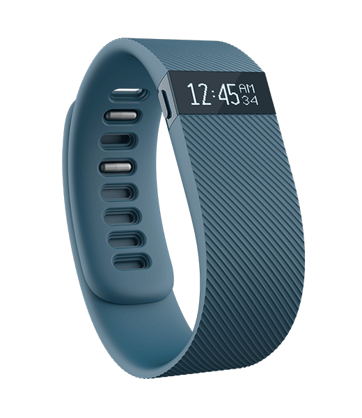 FITBIT CHARGE ACTIVITY + SLEEP WRISTBAND racks steps, distance, calories burned, floors climbed, active minutes and sleep. ncludes Caller ID.