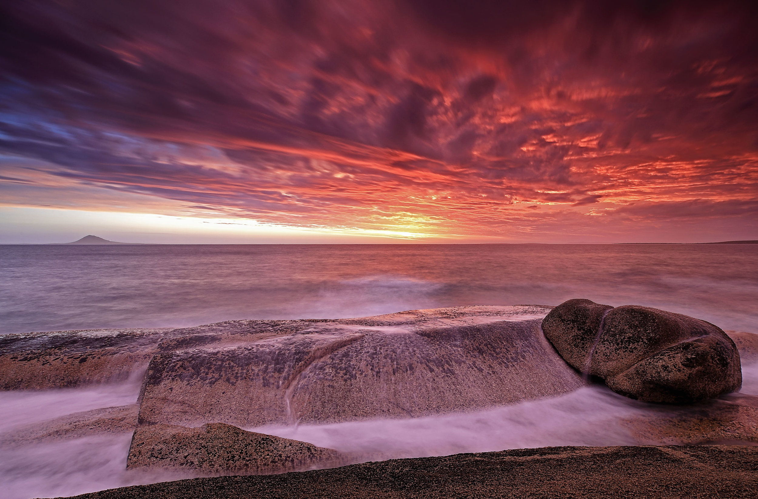 Storm at Sunset, Flinders Island, Tasmania – In 2014 I spent three weeks on Flinders Island as an Artist in Residence. The weather was impeccable, which meant not as many colourful skies as I'd hoped, so this one was particularly special!