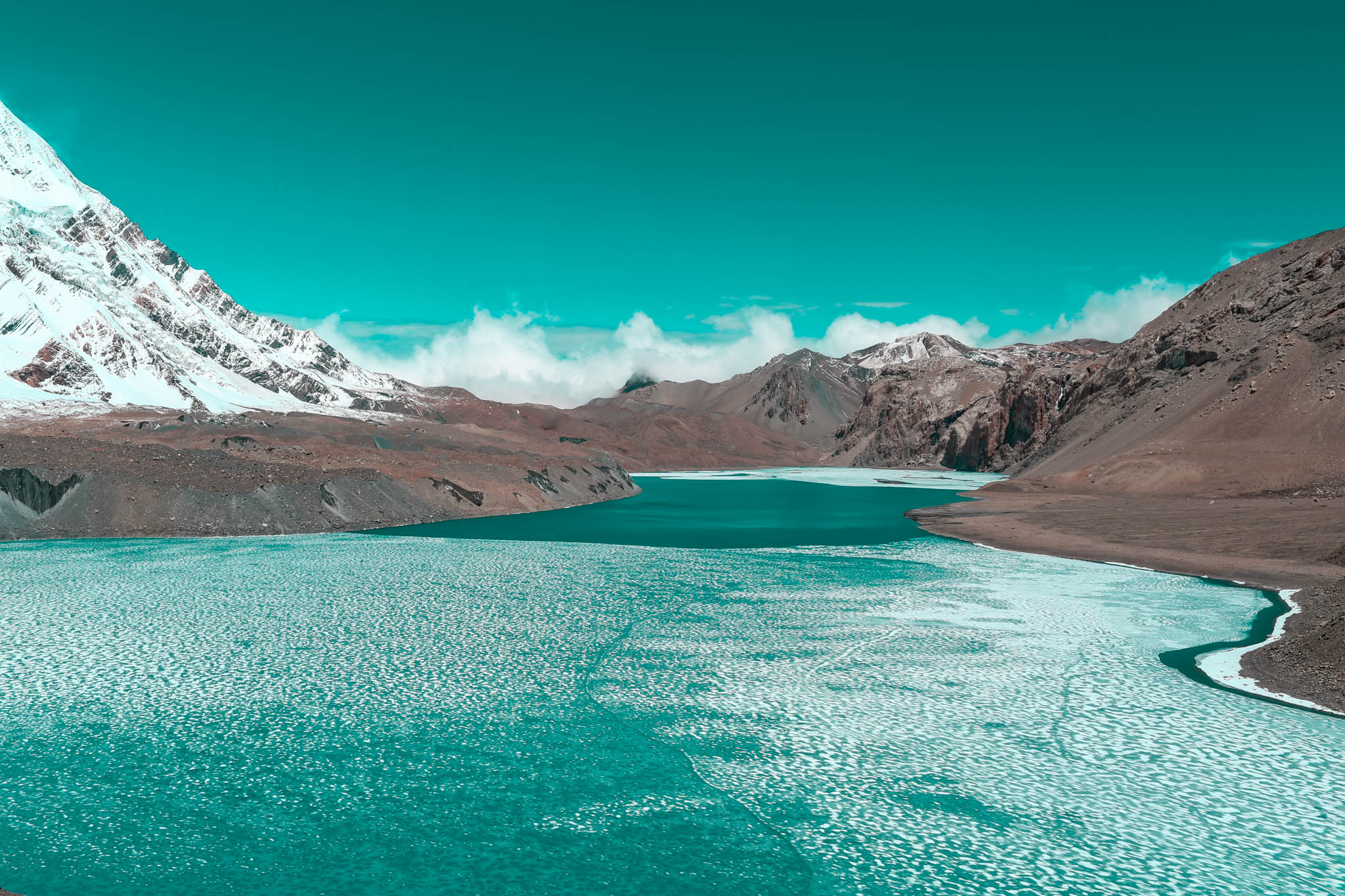 The largest and highest lake in the world, Lake Tilicho, Nepal.