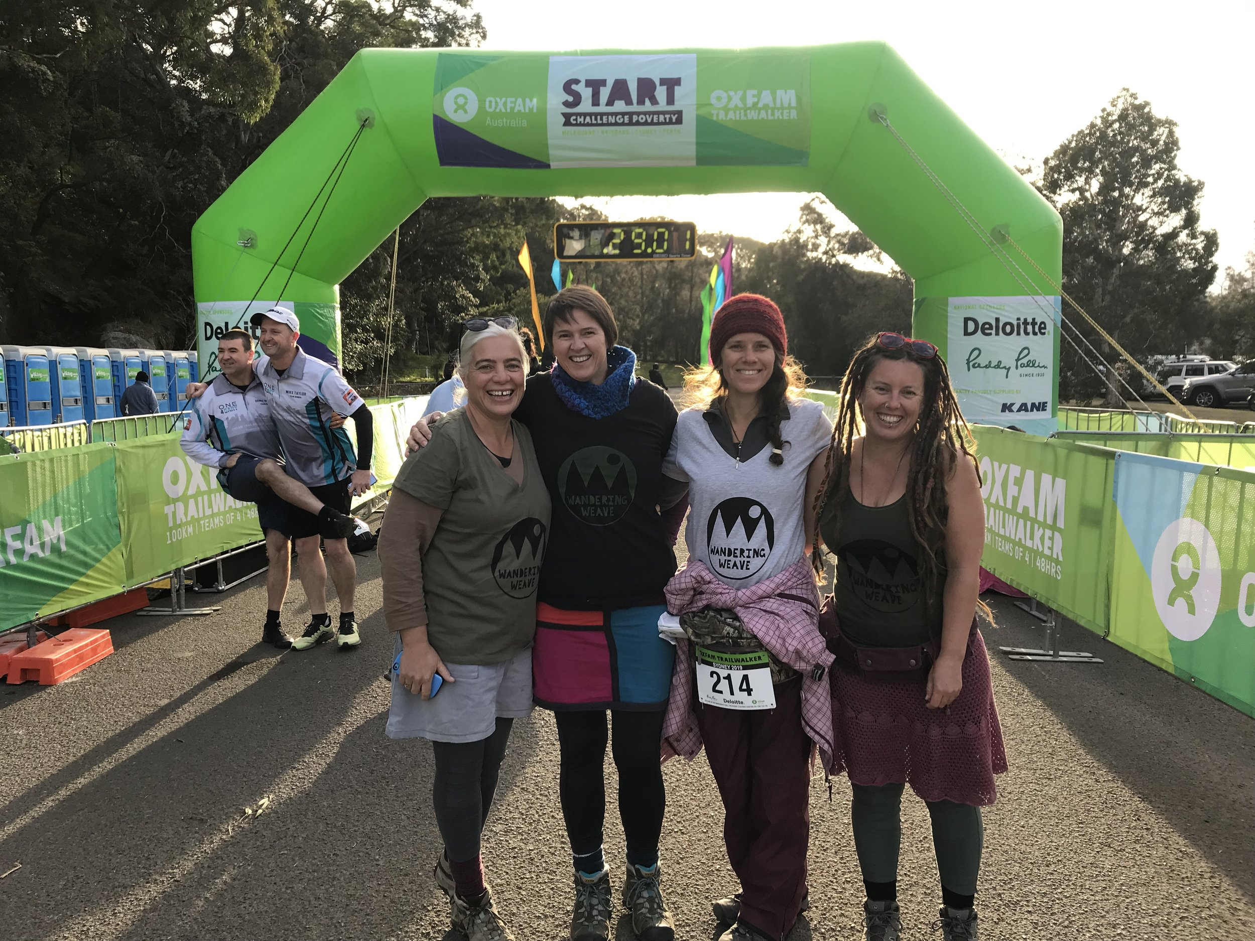 At the starting point, left to right is Tanya, Mirjam, Vera (words drafted by) and Rachael