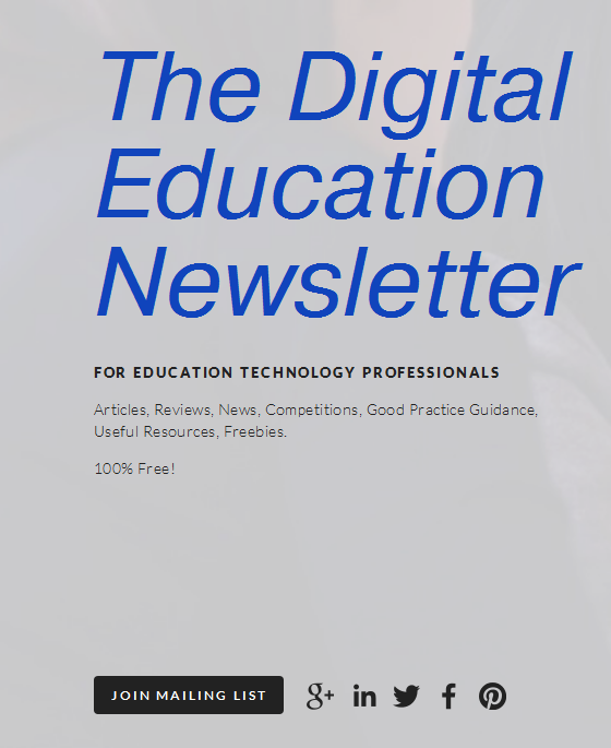 Part of the new front page for Digital Education