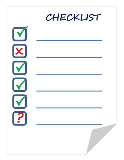 Ideally, a checklist should be numbered -- unlike the one shown here!
