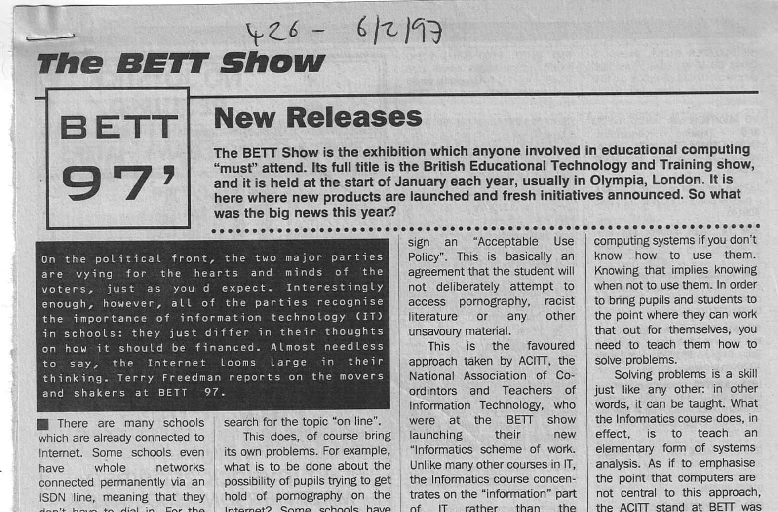 The original review of Bett 1997 (Detail)
