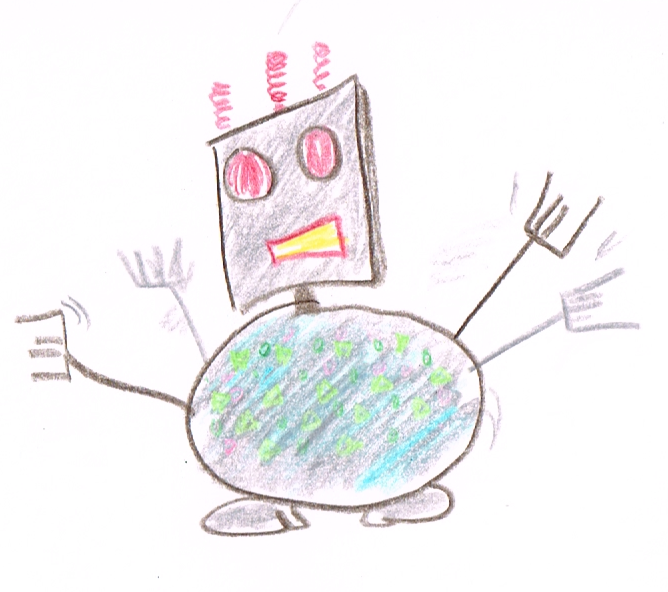 Robot, by Terry. OK, so I'm useless at drawing. Get over it!