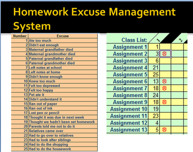 The Homework Excuse Management System, by Terry Freedman