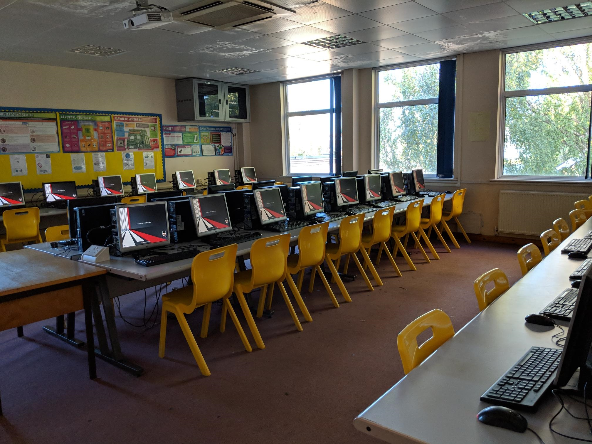 A computer lab at the Knights Templar School