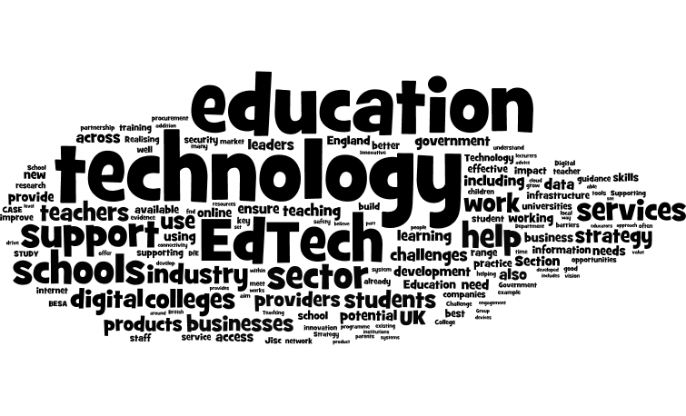 DfE wordle of the ed tech strategy, by Terry Freedman