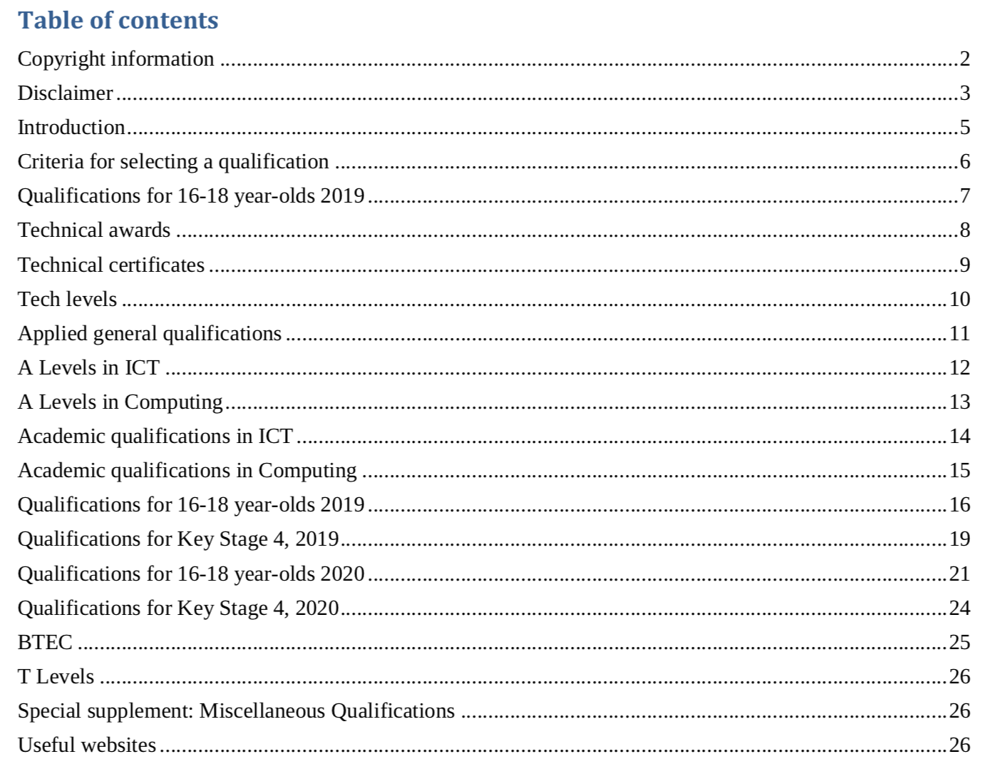 Table of Contents of Computing and Related Qualification, by Terry Freedman