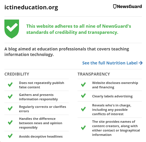Newsguard's summary of the ICT & Computing in Education website. Screenshot by Terry Freedman