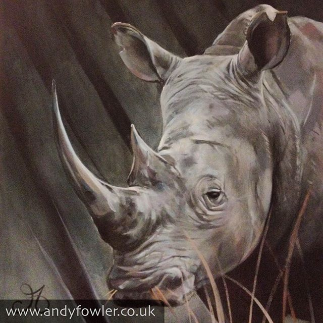 Meet #chipembere /#rhino /#rhinoceros - One of the great #zimbabwean #mbira songs is named after him. My #painting #rhinopainting #rhinocerospainting - #artist #wildlifeartist #andyfowler #andyfowlerart #andyfowlerartist