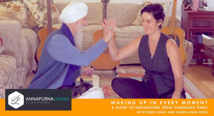 Guru Singh and Carrie-Anne Moss