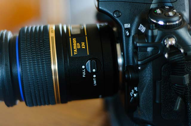 To start with, this is my macro lens. I use the Tamron 100mm f2.8 macro on my Nikon cameras as, while Tamrons aren't quite as solid as Nikon lenses, I love their sharpness, and even though I use them professionally, I tend to baby my lenses so I know that I don't have to worry too much about potential damage.