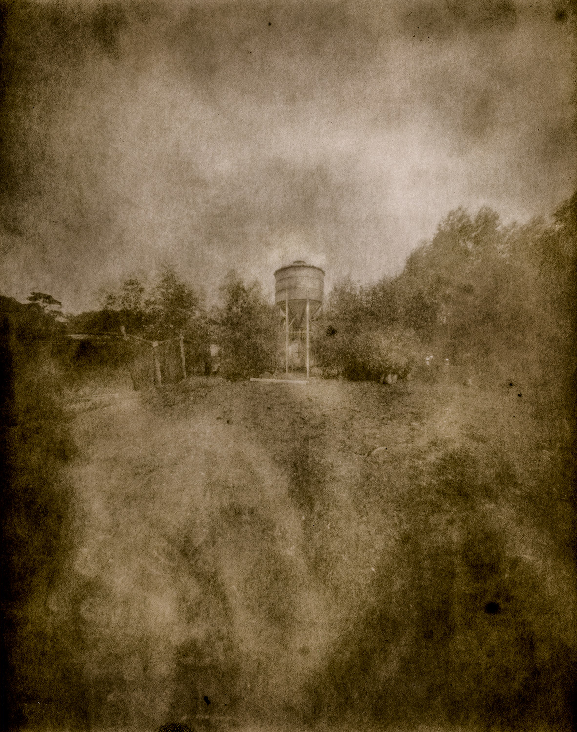 Reality So Subtle 4x5 Pinhole on very fogged paper negative, developed in Caffenol.