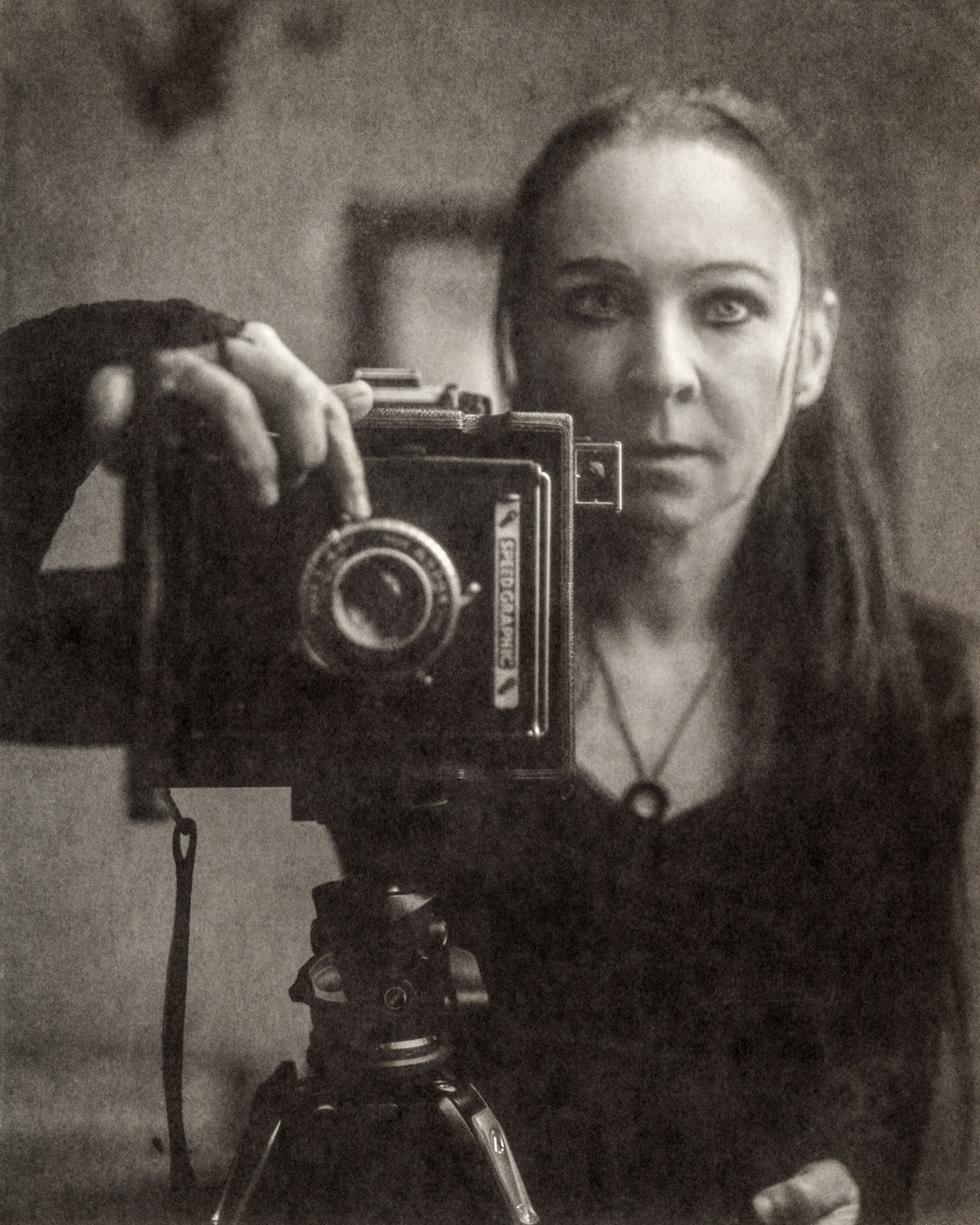 It's me! Self-portrait in mirror with 4x5 camera on paper negative