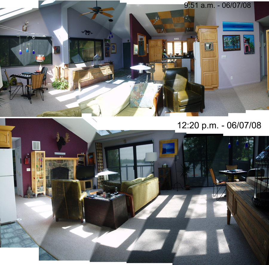 The main living area in 2008, before the first renovation, back when we had 20 skylights leaking overhead.