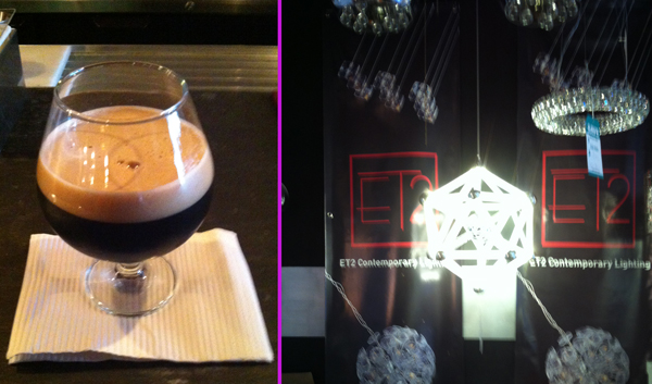 Finding beer and lighting on June 28, 2014. The  ET2 Contemporary Lighting Polygon  fixture isn't installed until January 30, 2015, in time for our Super Bowl party.