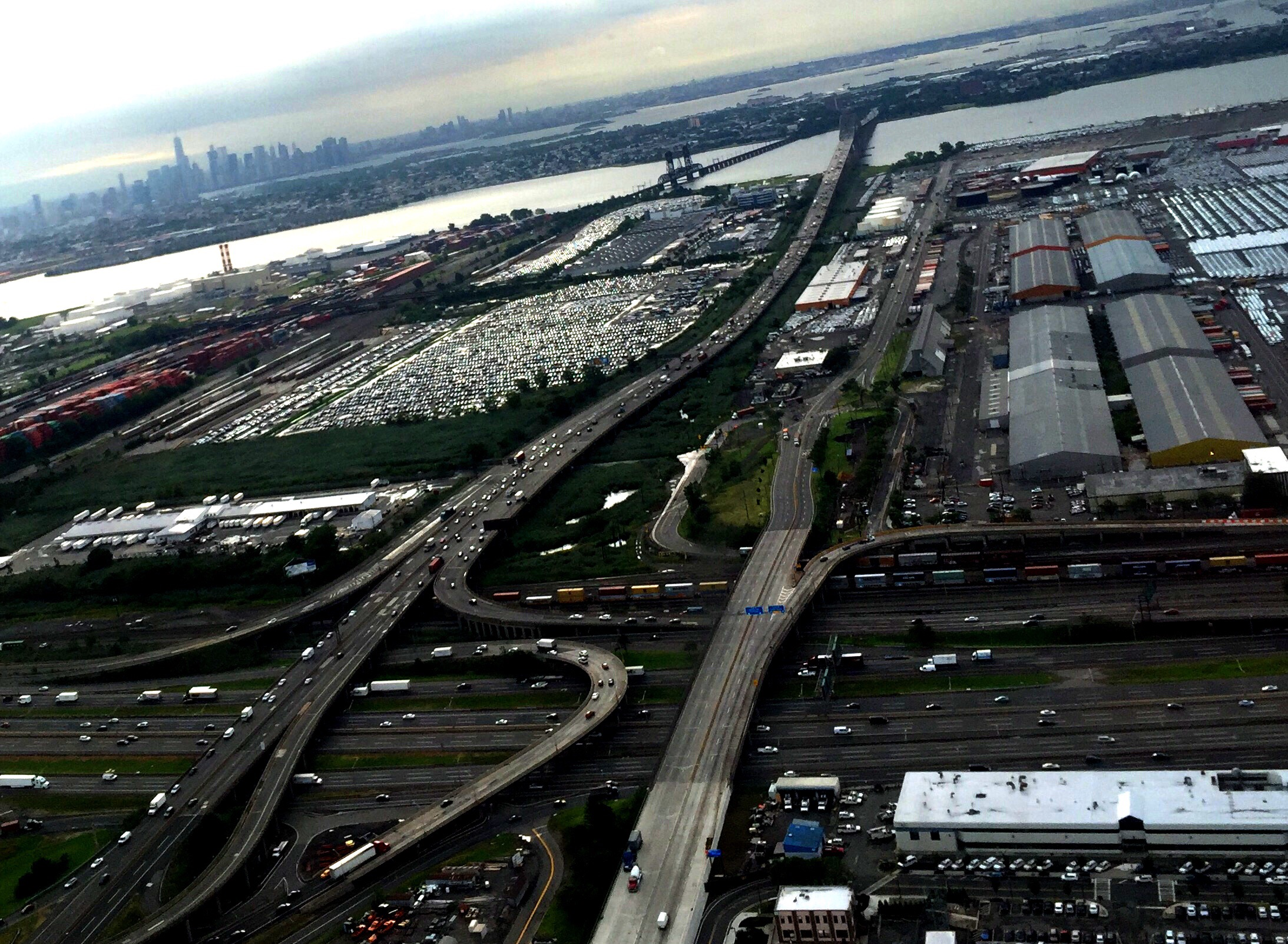 Over Newark Liberty Airport at 8:34 AM (Eastern Daylight Time) on August 18.