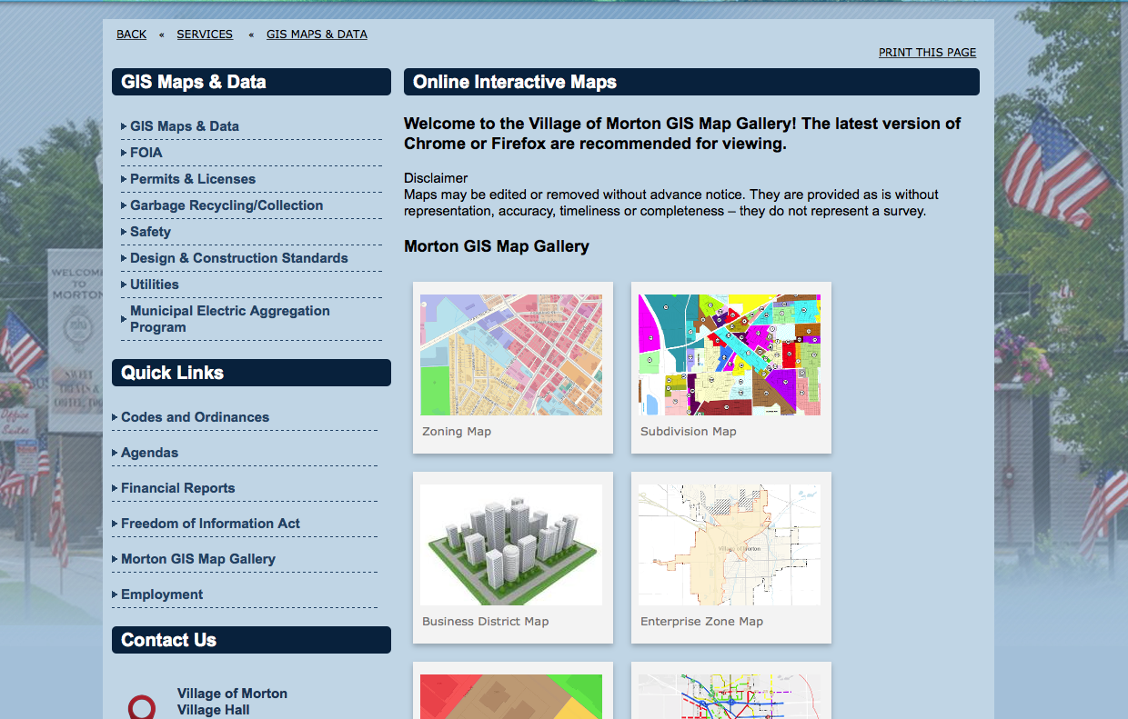 Image of ArcGIS Online for Organizations gallery incorporated intoone of Cloudpoint Geographicsclient's Municipal Webpage.