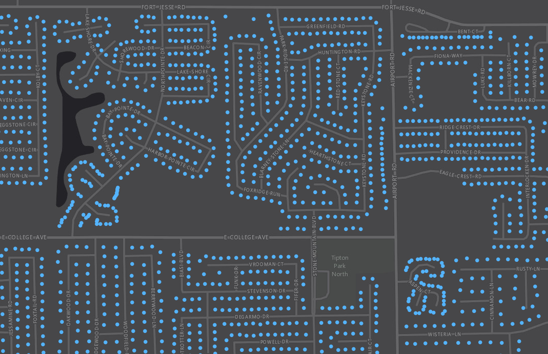 Garbage or recycle bins are located with GPS or geocoding methods and loaded into the GIS as point features to represent the various stops along routes. In this case the pickup locations were condensed to one point per street segment to allow for more efficient processing within the ArcGIS Desktop software.
