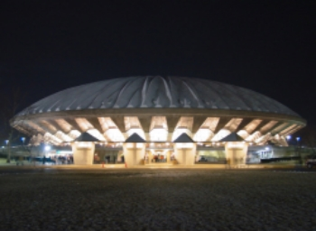 A spaceship has landed in Champaign? No, it is the State Farm Center, formerly known as Assembly Hall, home of the IHSA State Finals from 1963-1995.