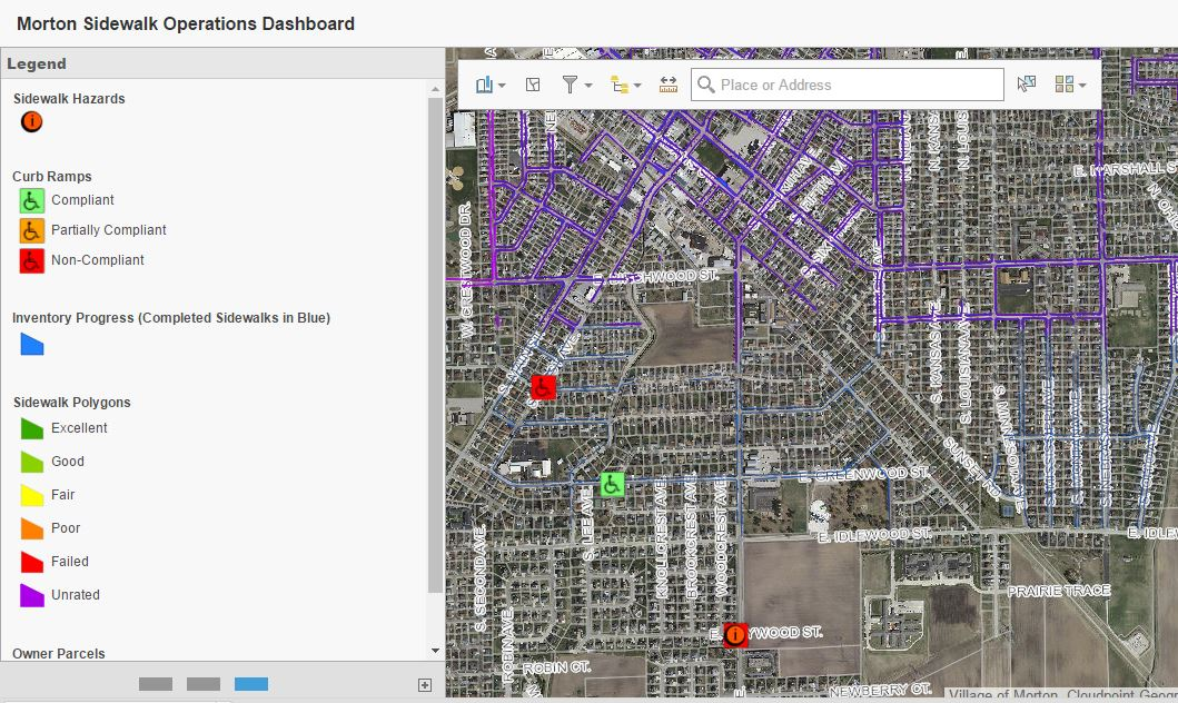 A web map for viewing the city's current sidewalk inventory and conditions in real-time created using Web AppBuilder for ArcGIS.
