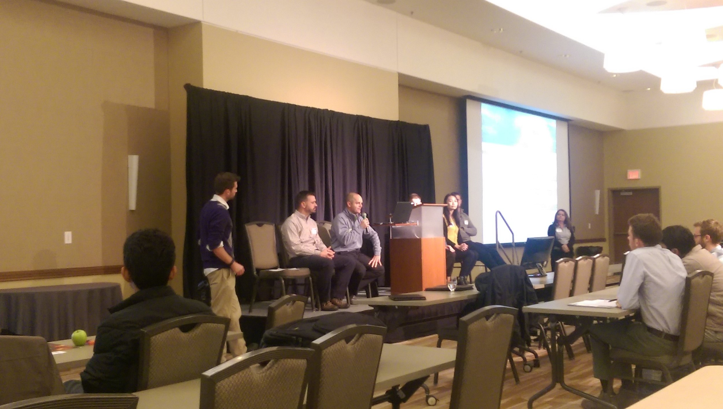Cloudpoint President,Jonathan Hodel, answering questions during the Career Connection panel discussion at the University of Illinois GIS Day event.