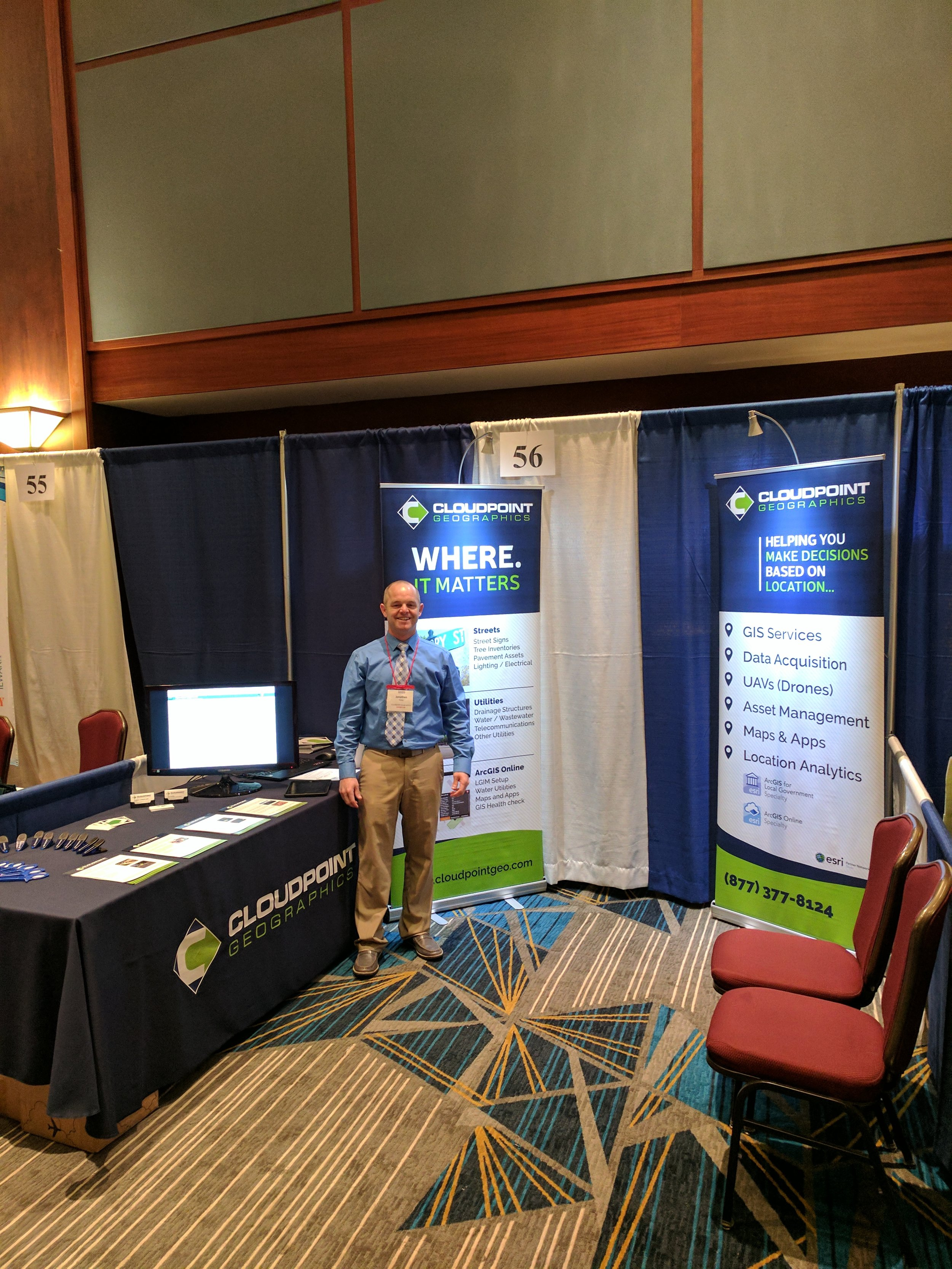 Jon ready to welcome everyone to the Cloudpoint booth at Watercon 2017!