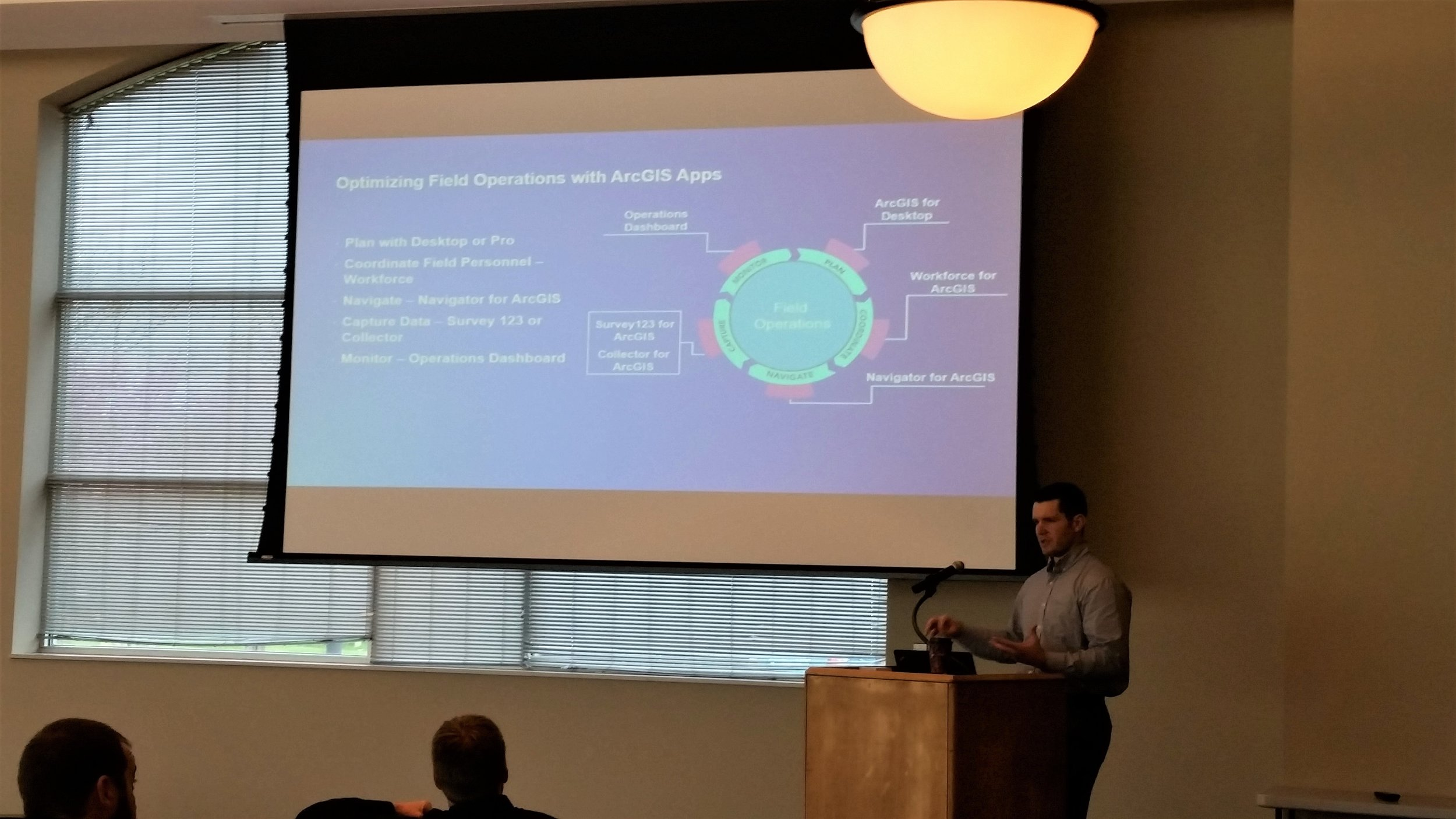 Jordan Miller with Esri discussing how organizations can optimize field operations with ArcGIS Apps.