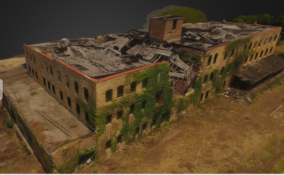 The City of Rock Falls wanted to preserve a snap shot of this historic riverfront building prior to its demolition later this summer. Click on the image to explore the 3D model. Left mouse button to rotate or hold shift key to pan.