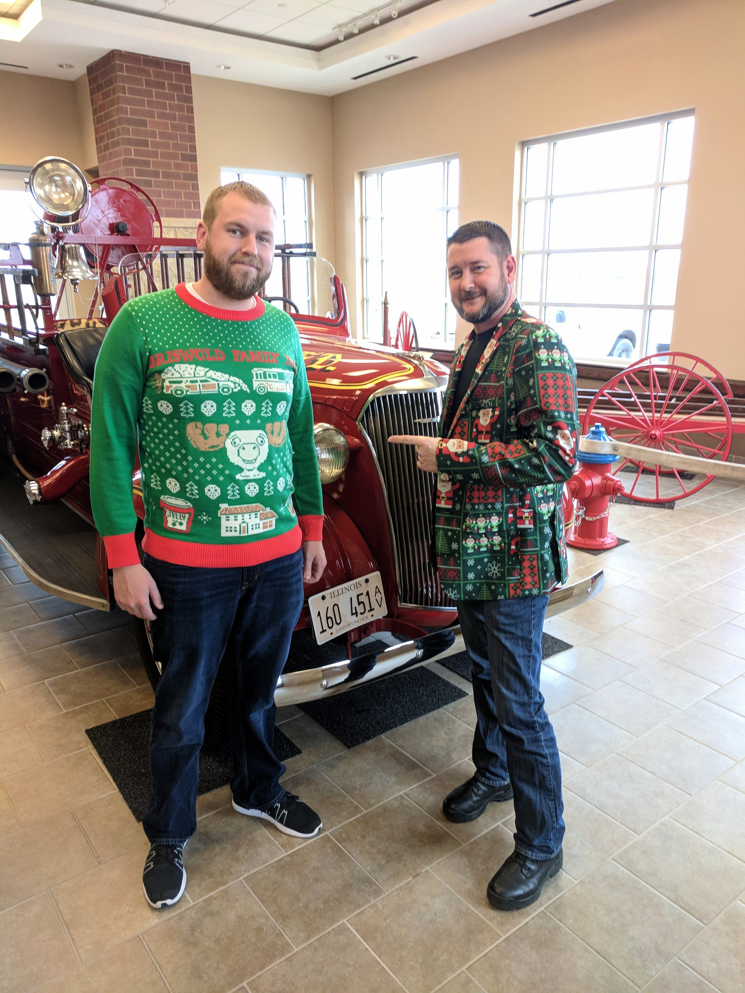 Morton, IL - Brian and Jason from Menard County, Illinois were in the Christmas spirit while attending the ArcGIS Solutions for Local Government Showcase.