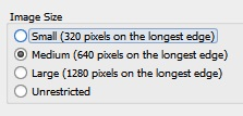 In Survey123 Connect Images settings, you can set the image size if you need to restrict the size of images submitted.