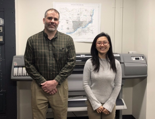 Meet Ray Weiser (left) and Sunny  Shang  (right) of the Scott County, Iowa GIS Department!