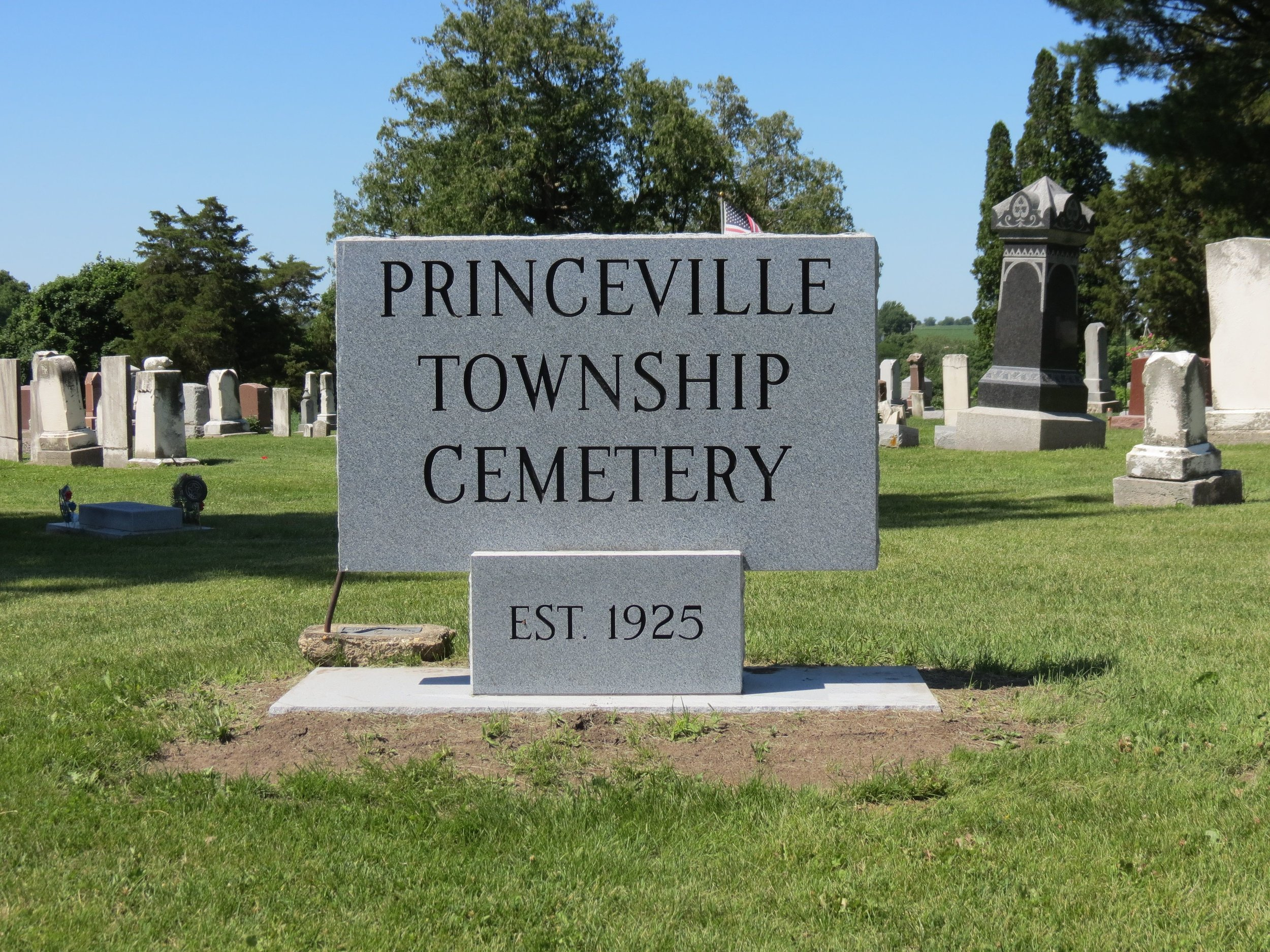 Princeville, IL - The Princeville Township Cemetery was established in 1925 on the site of a former cemetery. There are currently just over 5,000 plots in the cemetery that Cloudpoint will be creating a GIS cemetery management solution for.