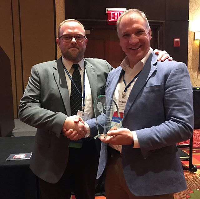 Congratulations to @micahwilli for winning the 2019 Hilton Distinguished Collaboration Award at the Illinois GIS Association annual conference.  This is a very special award which was given to a very worthy recipient.  Congratulations Micah!