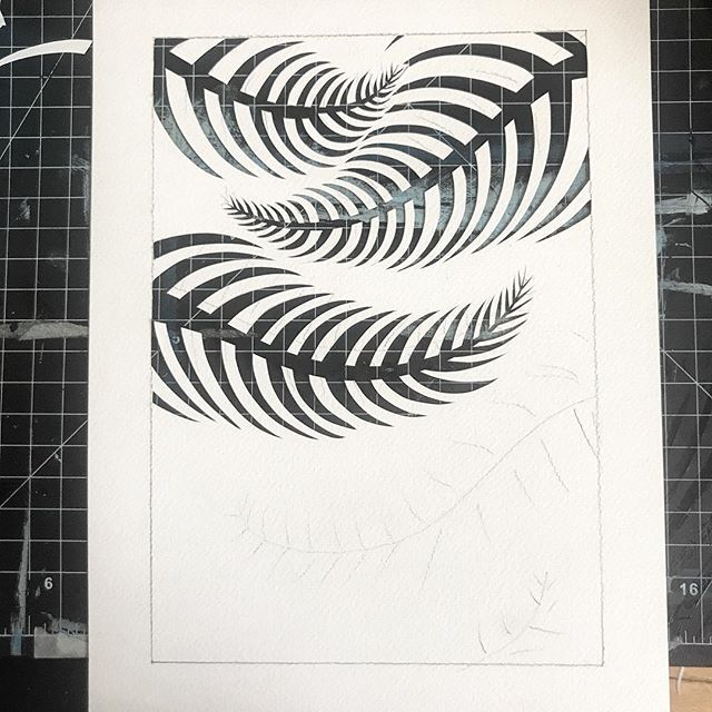 Work in progress on a fern design #workinprogress #illustration #art #papercut #plants #artistsoninstagram