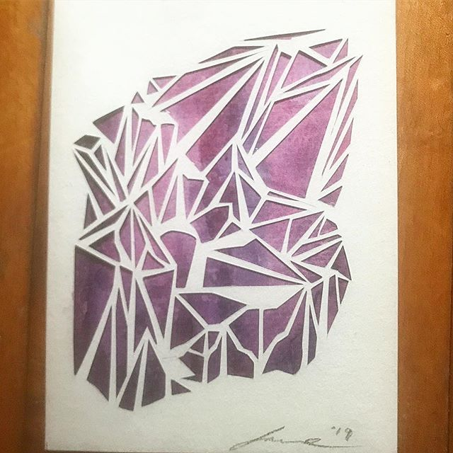 This tiny Amethyst is finished and up for grabs! DM me for details. #art #papercut #illustration #geometricart #crystals #watercolor #artistsoninstagram