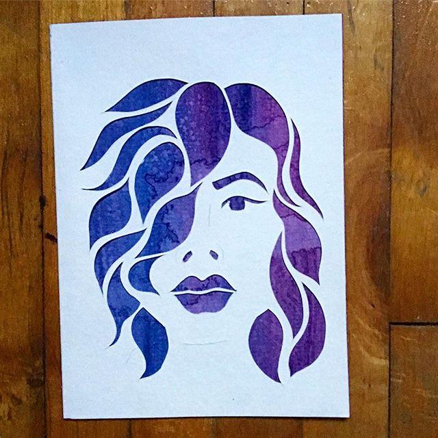 New piece! It's also super hard to document work via selfie camera. #papercut #art #illustration #artistsoninstagram #watercolor #person