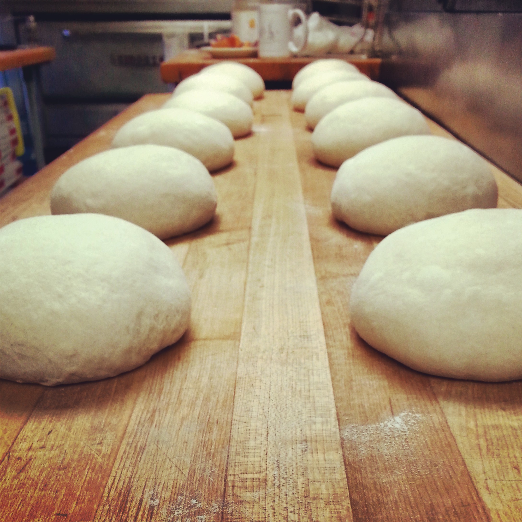Perfectly formed dough balls.