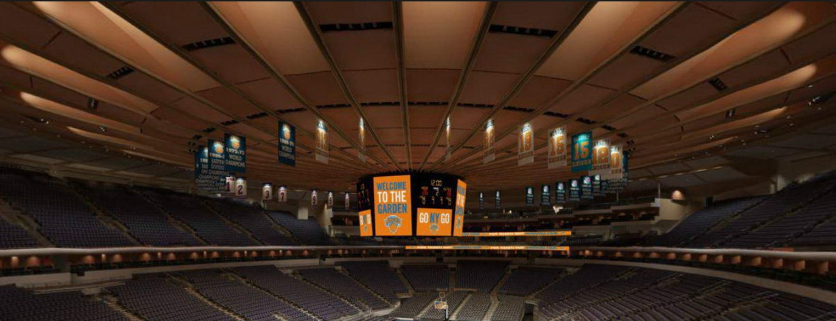 The iconic ceiling in Madison Square Garden.