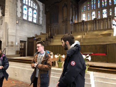 Jack (left), our British tour guide, and (right) a freshman tour guide trainee from Maryland answer our many questions about life at Carleton.